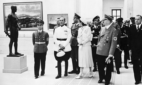 German art – purged of modernism, impressionism and cubism – is shown off by Adolf Hitler and propaganda minister Joseph Goebbels (far left) in Berlin in 1939. Photograph: Bettmann/Corbis