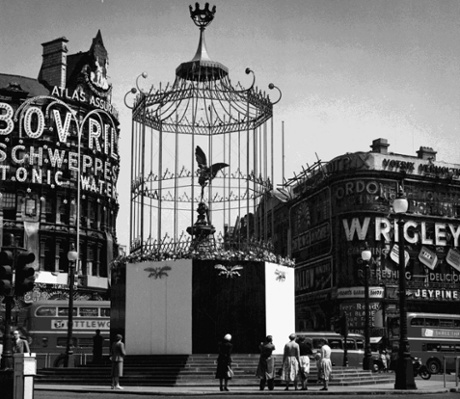 Captured creature … Eros was surrounded by a cage for the Queen's coronation in 1953. Photograph: Architectural Press Archive/RIBA Library Photographs Collection