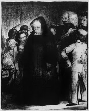 "George Bellows ""Untitled"" ( A Nun in a Crowd)"