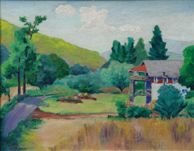 Ernest Fiene, Landscape with House, Woodstock NY