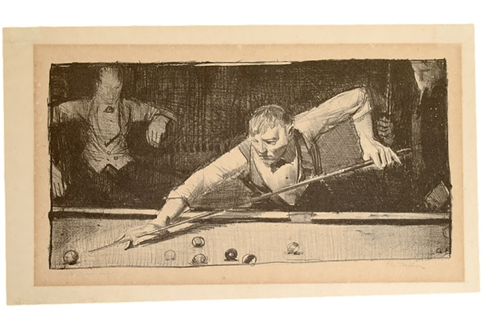 George Wesley Bellows Pool Player, lithograph, circa 1921 Signed by Bellows and Bolton Brown