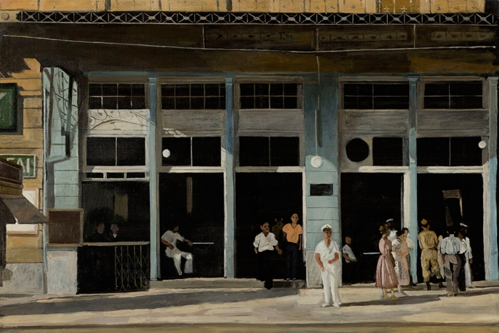Yiannis Tsarouchis, Small coffee house in Athens. Estimate £80,000-120,000. Photo Bonhams.