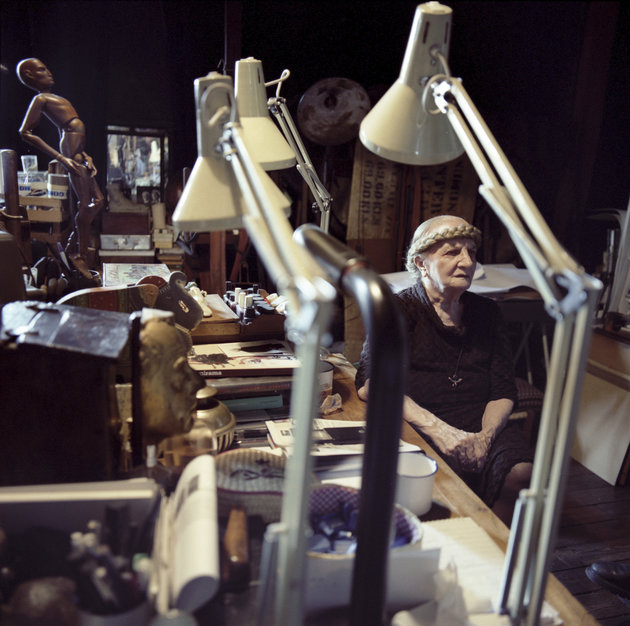 TURIN, ITALY - SEPTEMBER 2003: The artist Carol Rama poses for a portrait in her home in Turin. on September 19, 2005 (Photo by Alessandro Albert/Getty Images)